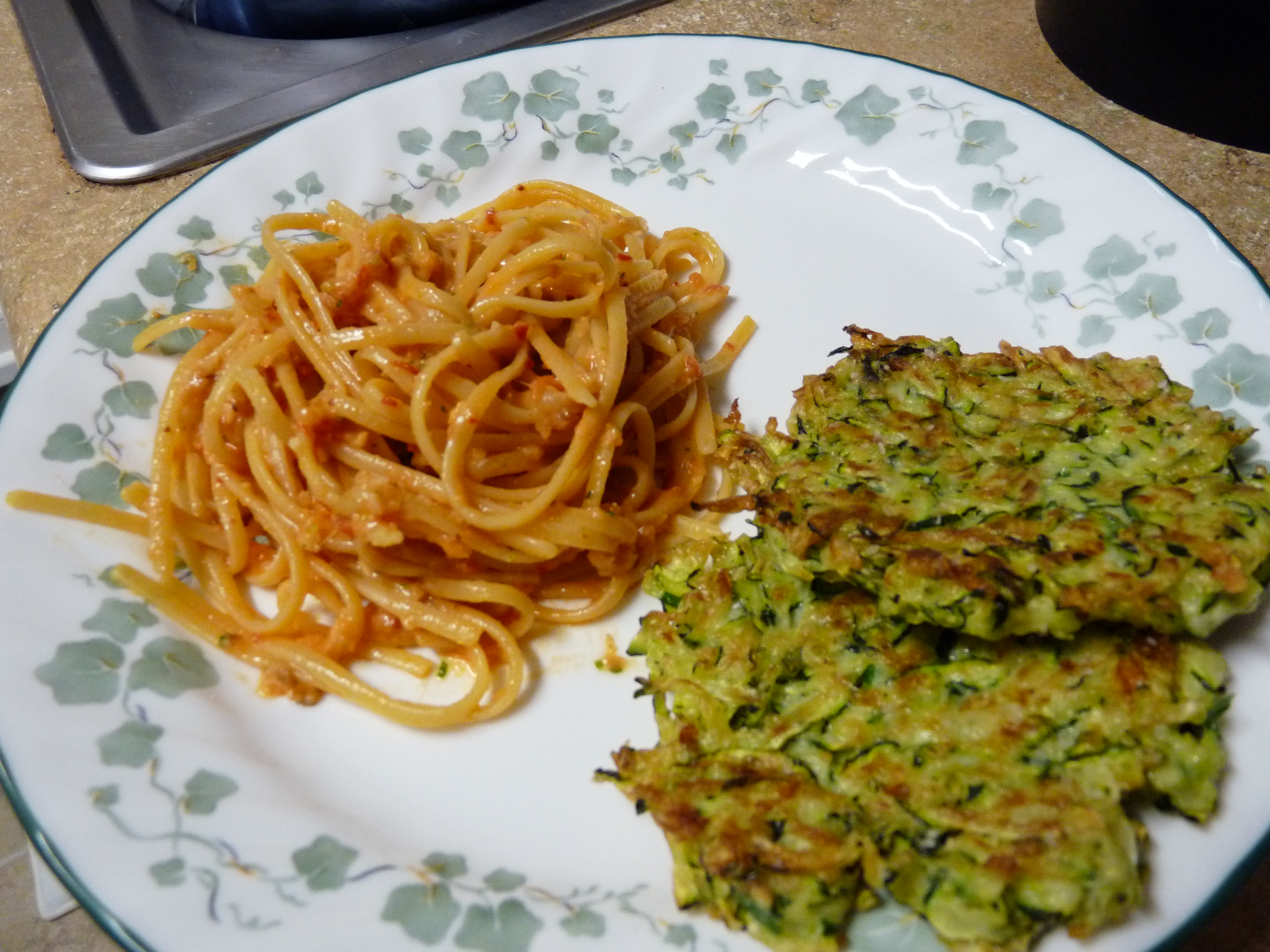 Linguine with Tomato-Almond Pesto & Zucchini Fritters