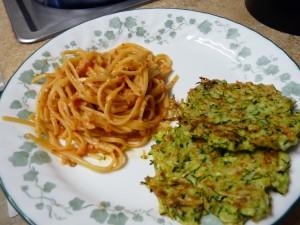 Linguine with Tomato-Almond Pesto & Zucchini Fritters