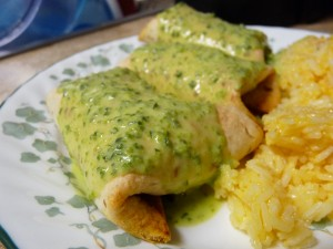 Baked Burritos with Poblano Cream Sauce 2