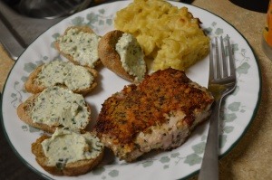 Parmesan Pork Chops and Basil Parmesan Dip